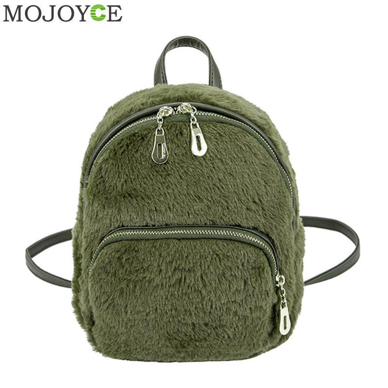 Leisure Women Faux Fur Backpacks Teenagers Girls Cute Backpack