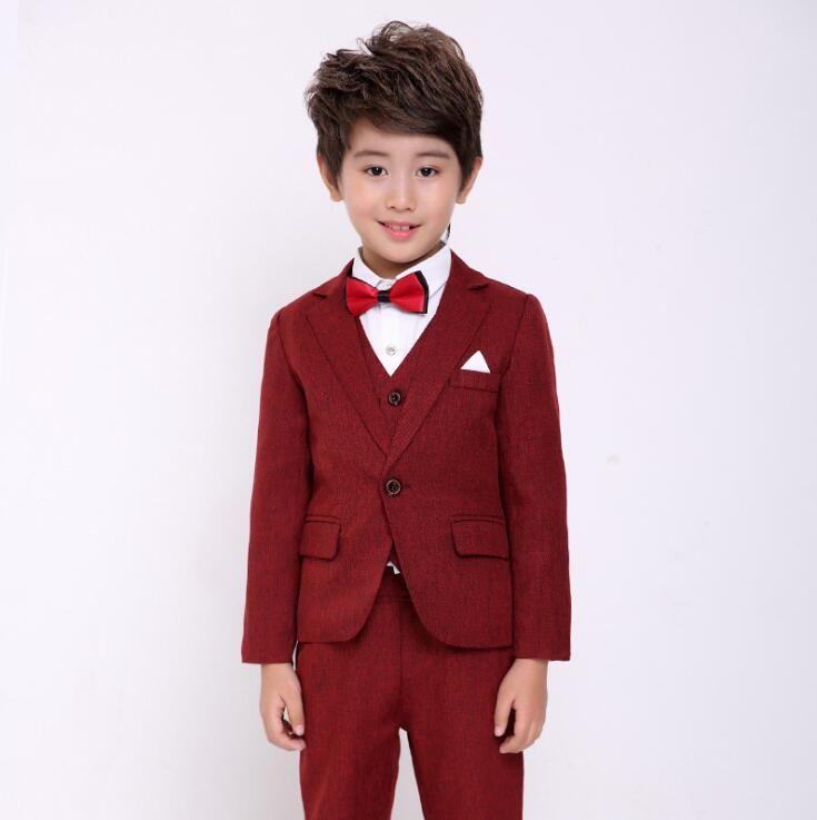 d4f2b87ed840c 2019 Fashion Boys Formal Suit Wedding Birthday Party Dress Kids Blazer Vest  Pants Tuxedo Children Prom Performance Costume From Tangyuan0117