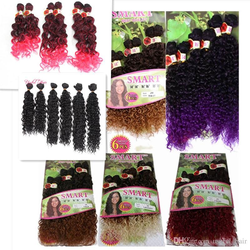 PESO NETO 250GRAMOS / LOTE OMBRE PÚRPURA coser extensiones de cabello trenzas de ganchillo tejidos de pelo / LOTE color ombre tramas de cabello sintético Jerry curlY