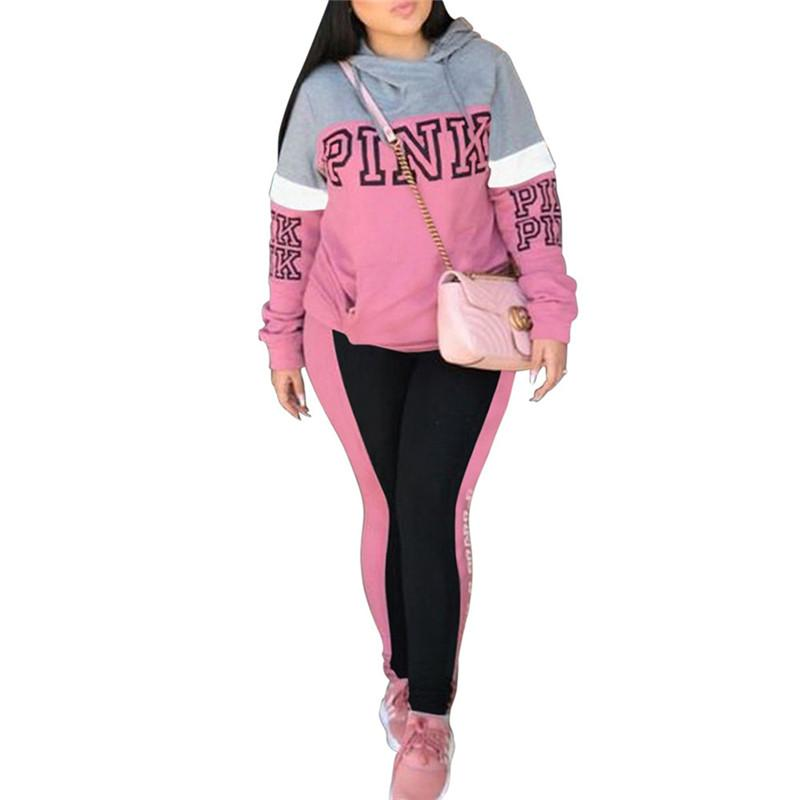 65f6b8b079 Pink Letter Hoodie Tracksuit for Women Pink Printed Sportswear Long Sleeve  Pullover T-shirt Pants 2 Piece Outfits Hoodies Trousers Suits