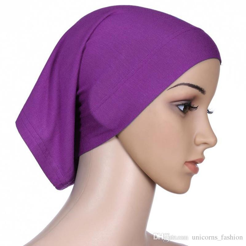 30cm*24cm Islamic Muslim Women's Head Scarf Mercerized Cotton Underscarf Cover Headwear Bonnet Plain Caps Inner Hijabs CNY285