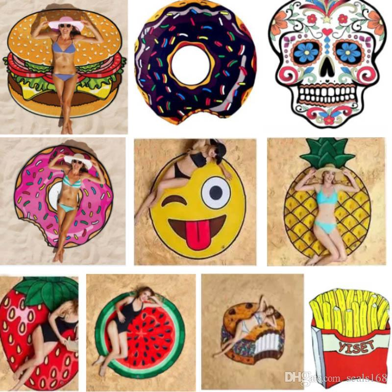 Beach Shower Towel Blanket Yoga Round Chiffon Towel Picnic Mat Blanket For Emoji Pineapple Ice Cream Strawberry Watermelon Skull HH7-797