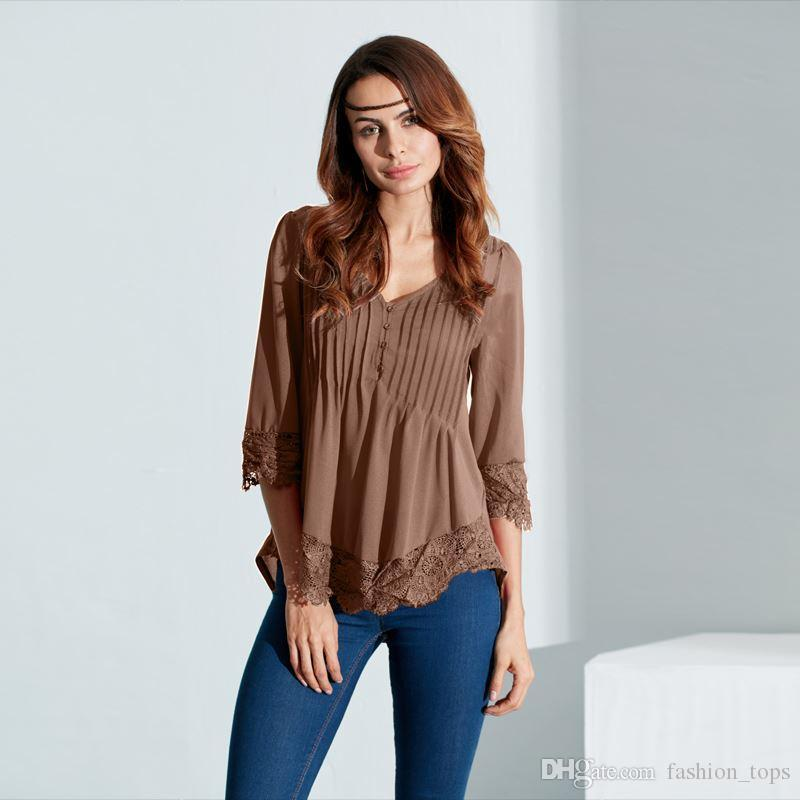 72eb6b6c896 Autumn Blouses Lace Shirt Hot Women Shirts 2018 Sexy V Neck 3 4 Sleeve  Irregular Hem Tops Casual Blusas Pluls Size S-5XL Women s Blouses Blusas  for Women ...