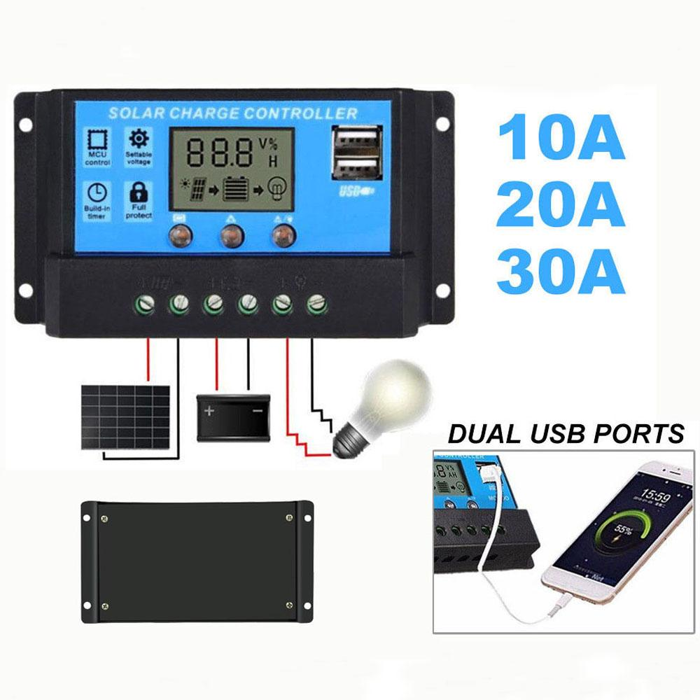 Solar Panel Regulator Charge Controller Usb Lcd Display Auto 10a 20a 30a 12v 24v Intelligent Automatic Connectors