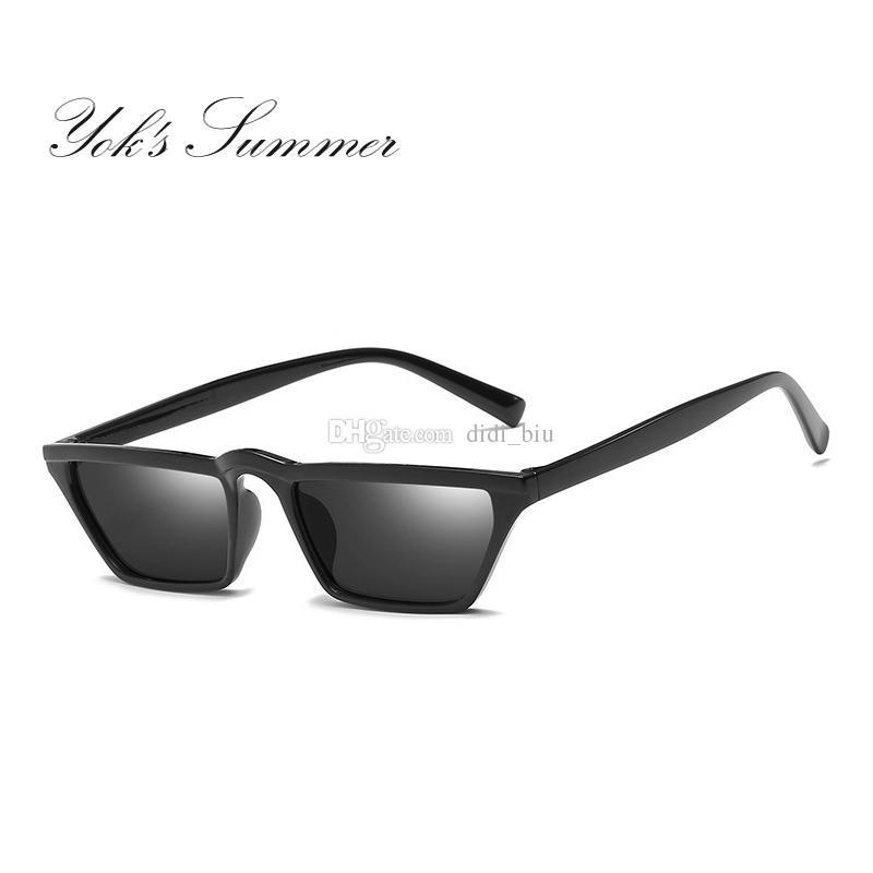 3ef46b52079c Yok S Summer Small Steampunk Sunglasses Women Brand Rectangle Flat Top Plastic  Frame Sun Glasses Decoration Black Eyewear WL069 Cheap Eyeglasses Sunglasses  ...