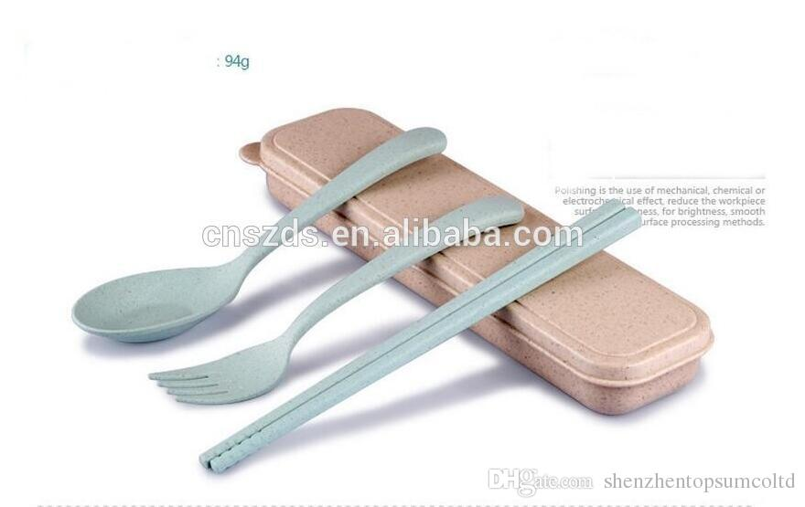 Portable Eco-Friendly Wheat Straw Cutlery Travel Kids Adult Cutlery Fork Chopsticks Spoon Camping Picnic Set Gift