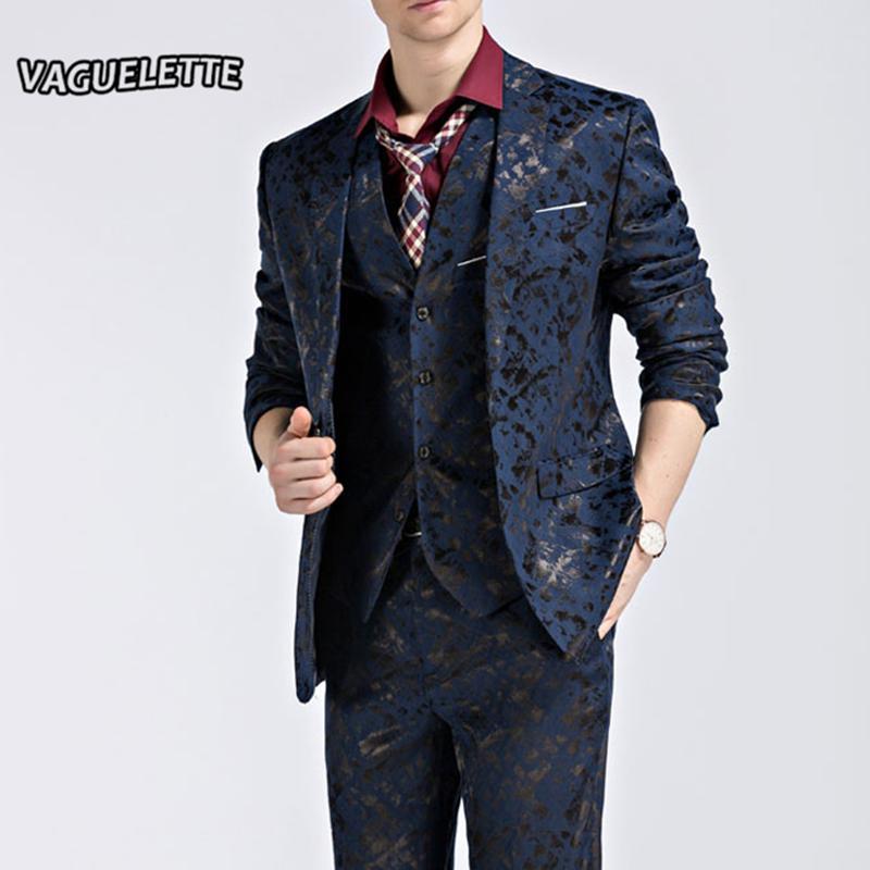 d1ef98f21a30 (Blazer Pants Vest) Mode Herren Anzug Glanz Muster Luxus Männer Bühne  Tragen Für Sänger Slim Fit Herren Anzüge Hochzeit Kleidung M-3XL