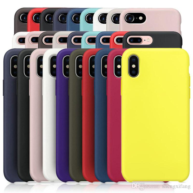 new product a1896 4fec7 Phone cases For Apple iphone 5 5s SE X silicone case Official Liquid Solid  case for iphone 6 7 8 plus Original case Shockproof cover