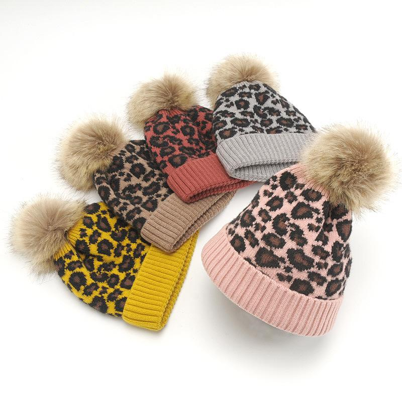 8b1cfab54bb 2019 Yyun Children Winter Hat Toddler Baby Animal Print Cap Kids Leopard  Cable Knit Beanies Skullies Soft Warm Faux Fur Pom Pom Hat From Hupiju