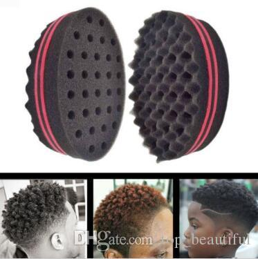 Magic Double Head Sponge Men Barber Hair Brush Black Dreads Locking Afro Twist Curl Coil Brush Hair Styling Tools Hair Care CCA8595 120pcs