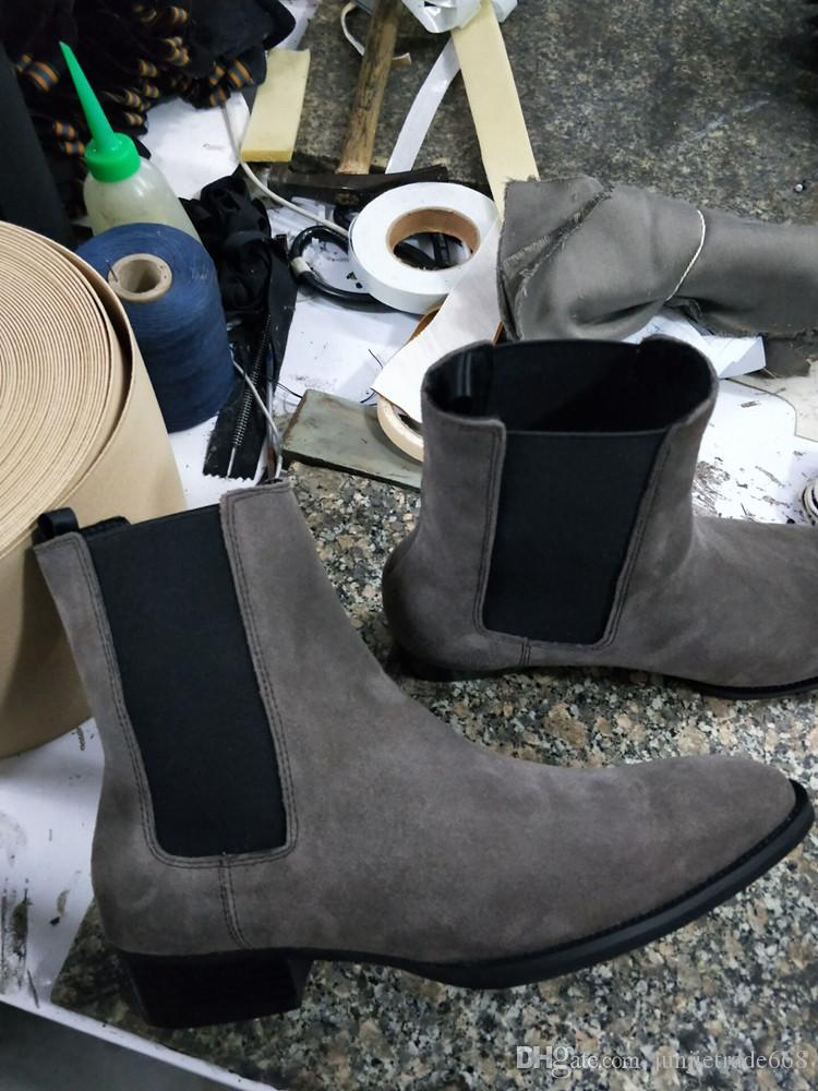 28b86d6698e 2018 New Handmade Kanye West Chelsea Boots Sip On High Wedge Ankle Wyatt  Boots JURDG Men Luxury Dress Wedding BOOTS Winter Boots For Women  Motorcycle Boots ...