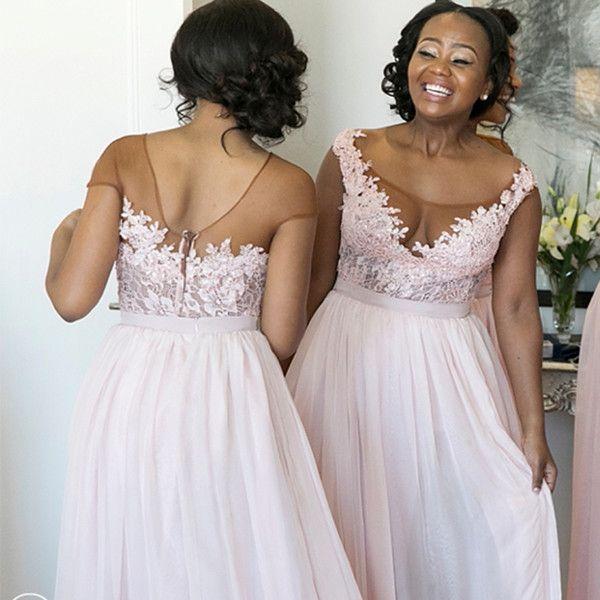 2018 neue rosa lange Brautjungfer ärmellose südafrikanische Spitze Applique Scoop Neck Side Split Chiffon Brautjungfern Kleid nach Maß