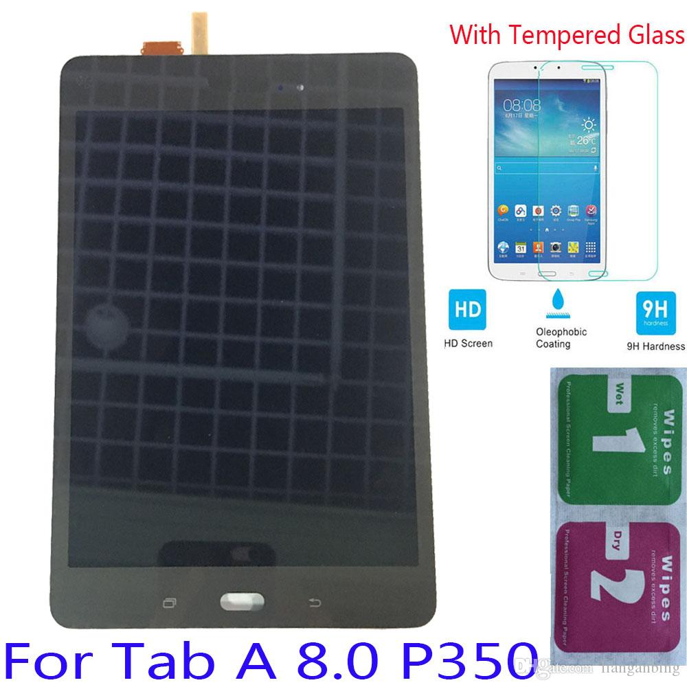 NEW LCD Display Touch Screen For Samsung Galaxy Tab A 8.0 P350 P355C Black White With Tempered Glass DHL logistics