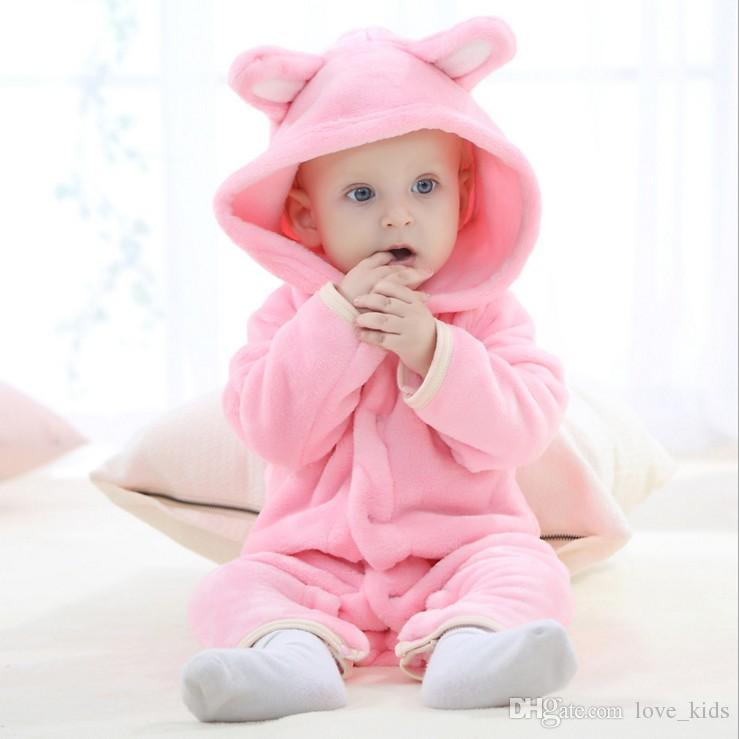 Art- und Weisebaby-Flanell-tierischer warmer Spielanzug scherzt einteilige Hauptbärn-Spielanzug-Kleinkind-Overallspitzequalität der Karikatur