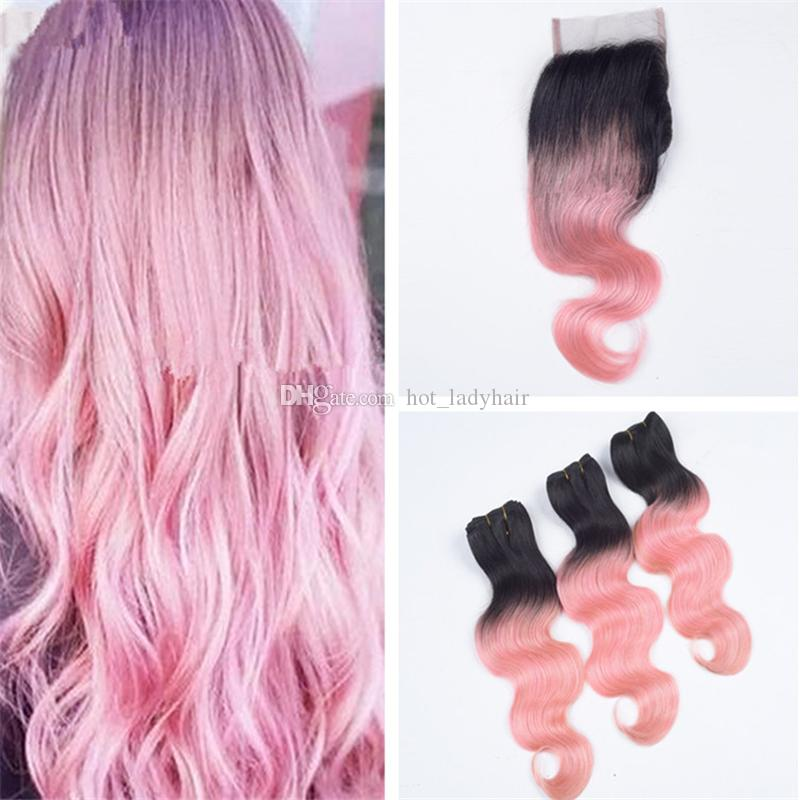 Black To Pink Ombre Closure With Bundles 2 Tone 1b Rose Gold Pink