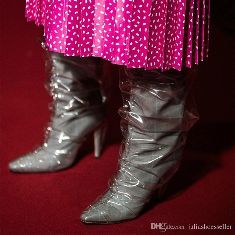 I più nuovi Moda Donna Fetish Scarpe Donna Rosso Nero Grigio Raso Pizzo Slip On Celebrity Stivaletti Tacco a spillo Stivali Alti Al Ginocchio Big Size 34-44