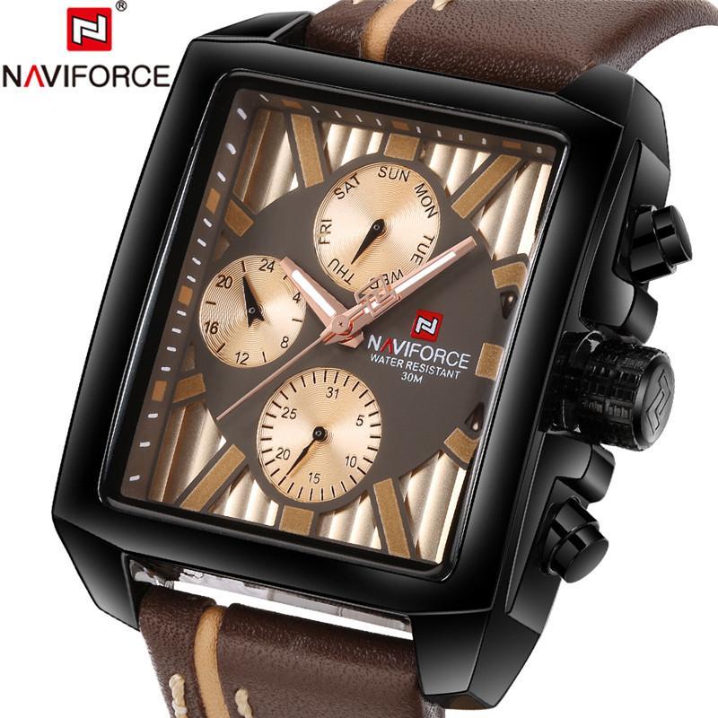 352fdfc558b Compre NAVIFORCE Dos Homens Relógio Antigo Relógio Casual Mens Relógios Top  Marca De Negócios De Luxo De Couro Genuíno De Quartzo Relógios De Pulso ...