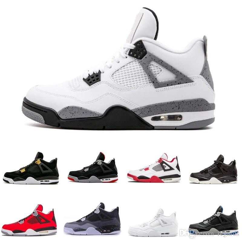 87504bb25f2 2019 2018 4 4s Basketball Shoes Men Pure Money Royalty White Cement Raptors  Black Cat Bred Fire Red Mens Trainers Sports Sneakers Size 8 13 From  Regards, ...
