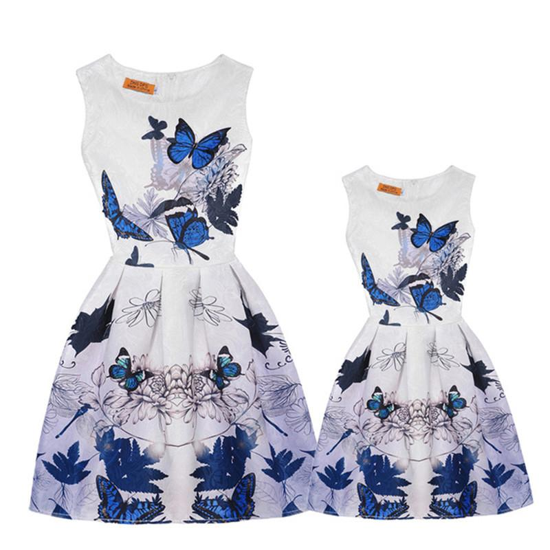 43ca0249776f Casual Family Matching Outfits Vintage Mother And Daughter Dresses Clothes  Summer Floral Print Sleeveless Teenage Girls Clothing Matching Dress For Mom  And ...