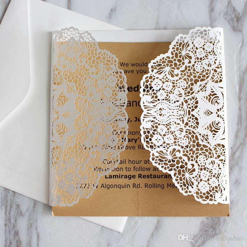 Jeweled lace white invitation card for wedding engagement prom party folded invitation holder laser cutting custom printing