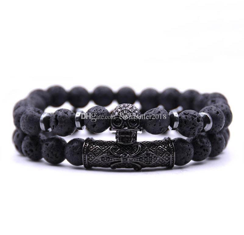 Heißer verkauf 2 teile / satz schwarz farbe schädel kopf lava türkis naturstein perlen männer armband schmuck set charme armreifen