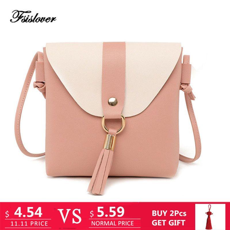 870efadbd56b 2019 Fashion FSISLOVER New PU Leather Women Bucket Shoulder Bag Fashion  Panelled Tassel Crossbody Bag Female Messenger Bag Small Handbags Handbag  Sale ...