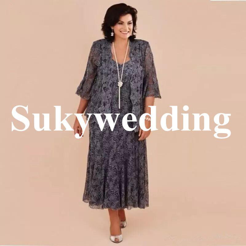 Plus Size Lace Mother of the Bride Dresses With Jacket Tea Length Mother Formal Dresses Appliques Wedding Party Dress vestido de renda