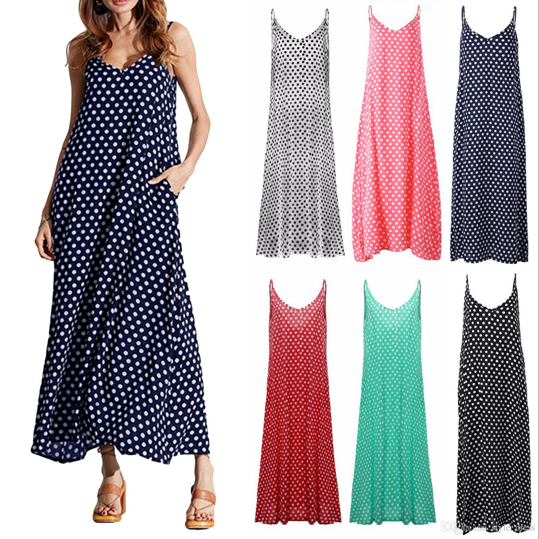 610438e9626 Women Summer Beach Maxi Dress Plus Size Spaghetti Strap Sleeveless Polka  Dot Loose Long Sundress Red Party Dresses For Teenagers Womens Long Black  Dresses ...