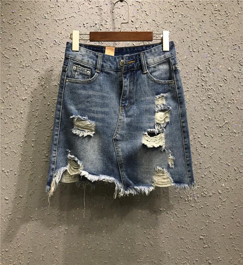 Mini Short Denim Skirts Womens Summer High Waist Pencil Skirt Jupe ... f239a9966609