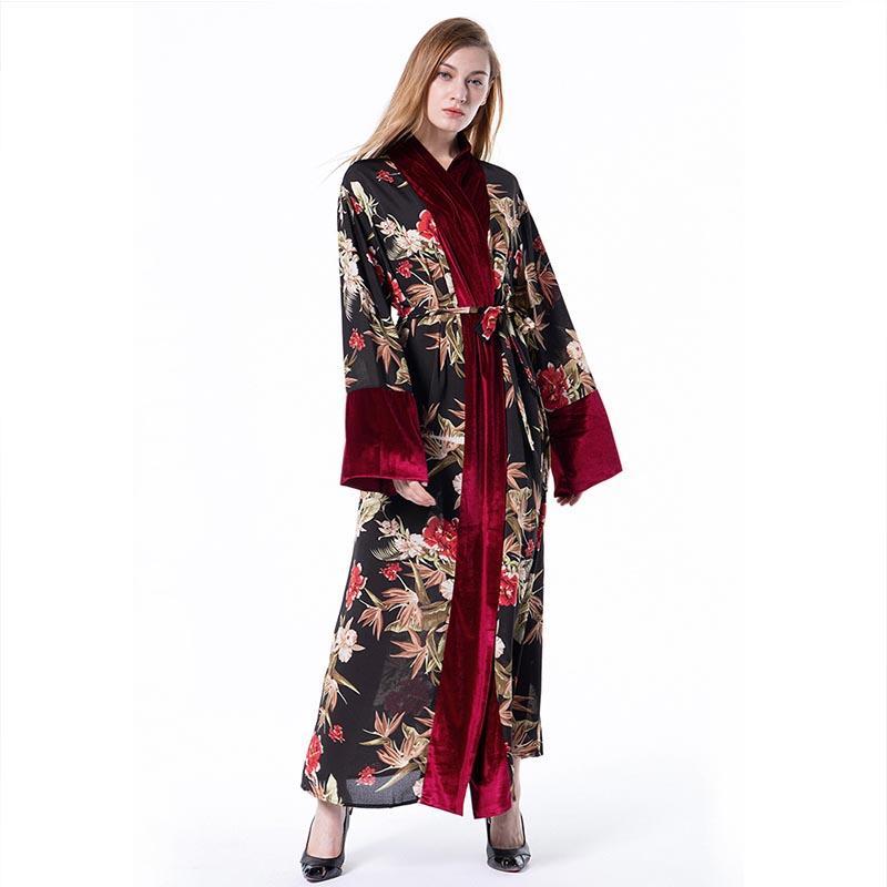 buy popular 1cc61 2f38f Velluto musulmano cuciture cardigan sciolto vesti abbigliamento islamico  velluto vesti donna turco vestito arabo hijab rosso Dubai Arab Malaysia