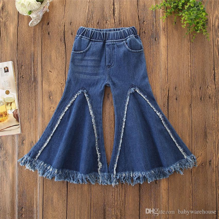 7576dde540 Baby Girl Clothes Fashion Elastic Waist Flare Jeans Wide Leg Tassel Trousers  Children Loose Pants Denim Pants Toddler Kids Girls Jeans 1 5T NZ 2019 From  ...
