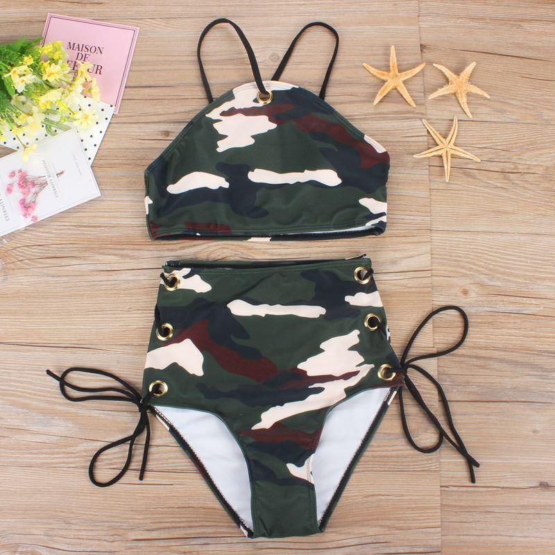 Camouflage Bikini High Waist Swimsuit High Neck Swimwear Camo Bandage Cross Bathing Suit Women Army Green Bathing Wear Plavky