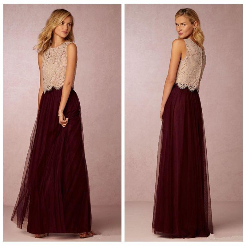 b777413fe45 2019 Custom Online A Line Two Pieces Long Bridesmaid Dresses Lace Top  Elegnat Beach Wedding Party Prom Dresses Honor Of Maid Cheap Vestidos  Bridesmaid ...