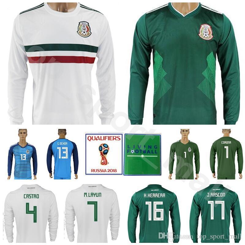 7083e4e8f Acquista Maglia Da Calcio A Maniche Lunghe Mexico Uomo 2018 Coppa Del Mondo  4 Marquez 7 Layun Maglia Da Calcio Kit Personalizzate 16 Herrera 8 Fabian 9  ...