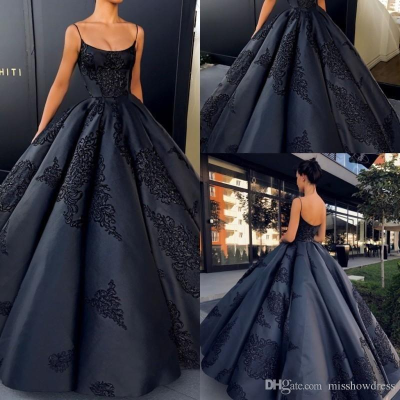 ad2ed9febf2 2018 Sexy Black Spaghetti Straps Satin Ball Gown Evening Dresses Sleeveless Lace  Appliques Backless Prom Quinceanera Dresses Plus Size Gowns Sparkly Evening  ...