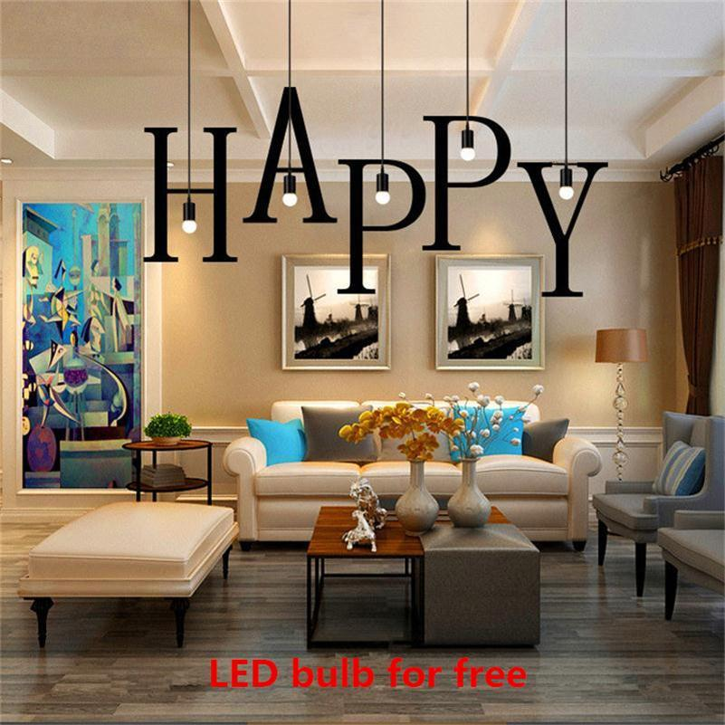 Home industrial lighting Beamed Ceiling Modern 26 Letters Led Pendant Lights Iron Diy Home Industrial Lighting Nordic Hanging Lamp Dining Living Bar Cafe E27 Dropligts Discount Pendant Lighting Dhgatecom Modern 26 Letters Led Pendant Lights Iron Diy Home Industrial