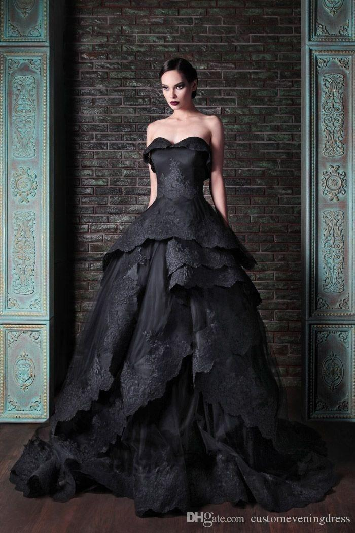 meet 6cbc1 00a53 Black 2018 abito da sposa nero New Gothic Style Sweetheart Wedding Dress  Lace Applique Ball Gown Bridal Gowns