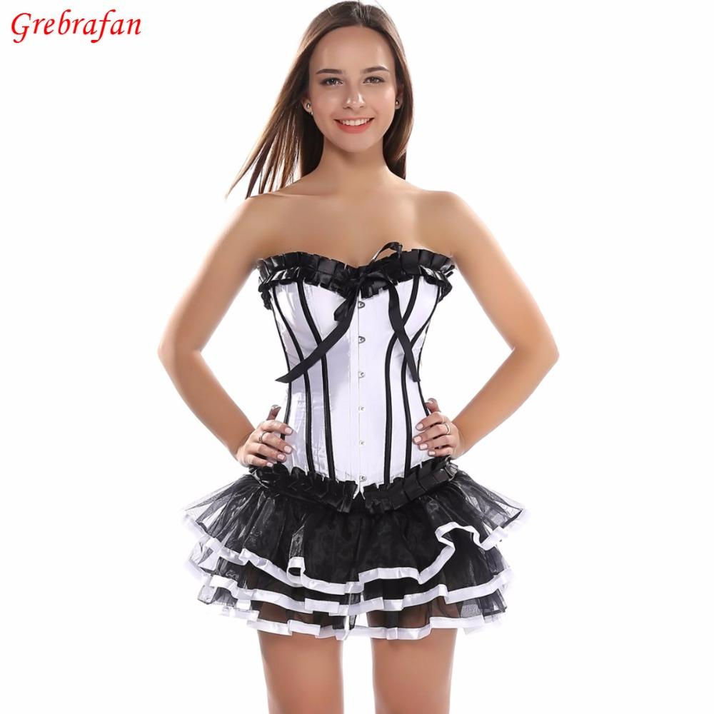 9cf093b3aef Women Gothic Burlesque Overbust Corset with Skirt Set Bustier Sexy Evening  Party Fancy Dress Waist Slimming Corset Bustiers   Corsets Cheap Bustiers  ...