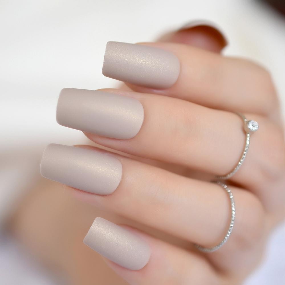 Nude Color Nail Kit Simple Design Frosted Fake Nail Long Flat Matte