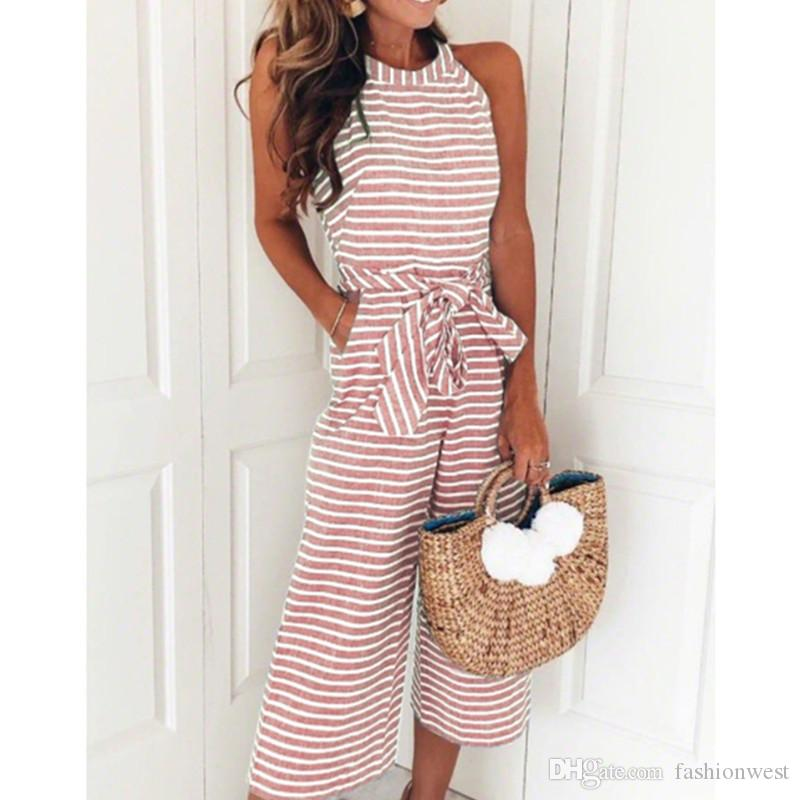 0fd572a73e43 Rompers Bow Tie Sleeveless Striped Wide Leg Jumpsuits Summer Belted ...