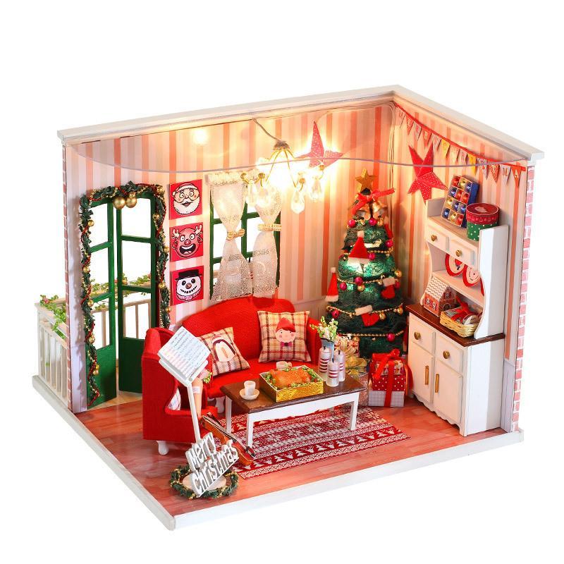 dollhouse christmas miniatures wooden handmade dolls house diy dollhouse miniature kit for children adult christmas gift dh01 dollhouse families 18 inch - Dollhouse Christmas Lights