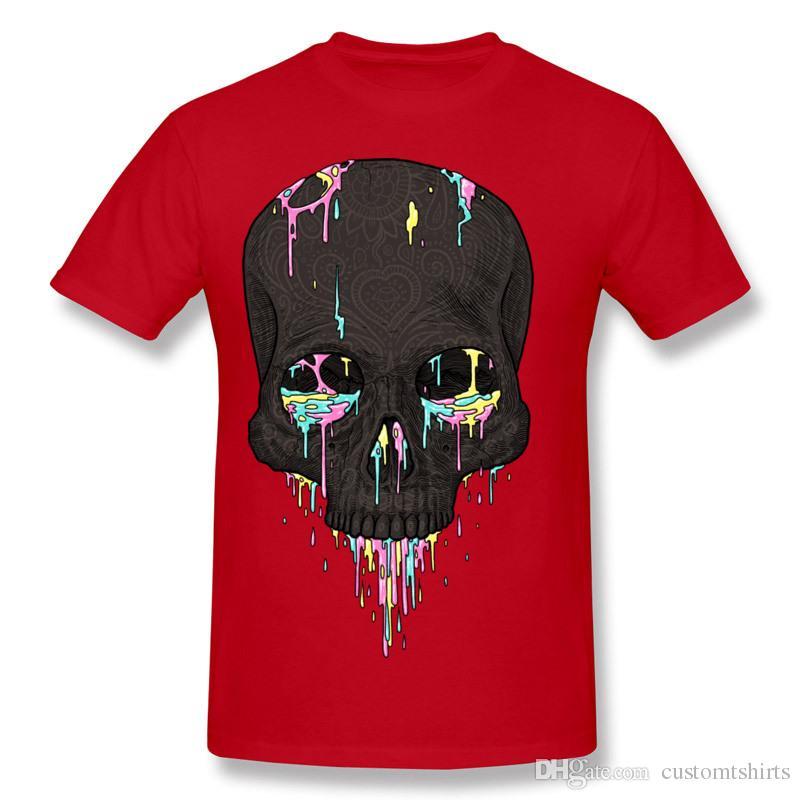 İndirim Erkekler 100 Pamuk Şeker Damlar T Gömlek Erkekler Yuvarlak Boyun Lacivert Kısa Kollu T-Shirt 6XL Yaz T Gömlek