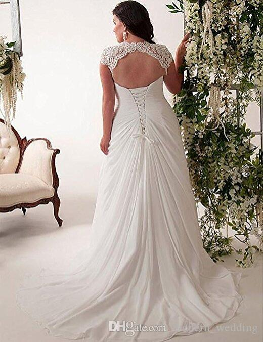 Elégante robe de mariée en dentelle appliquée pour femmes, dos au lacet, col en V, plus la taille de la plage, robes de mariée