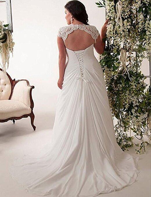 Vestido de novia de encaje elegante con apliques de mujer espalda con cordones Vestidos de novia de playa con cuello en V y talla grande