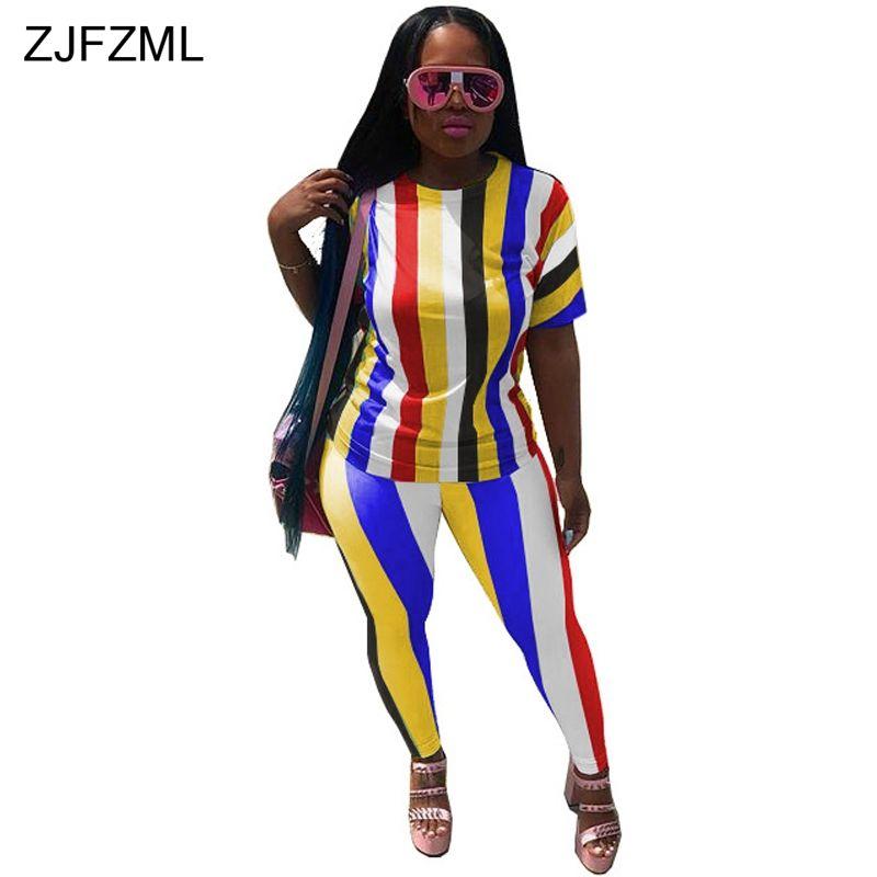 ZJFZML 2018 Rainbow Striped Sexy 2 Two Piece Set Women Short Sleeve ... ff63b572c41d