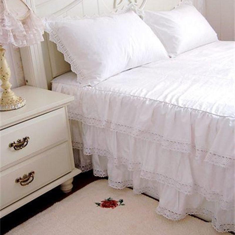 Großhandel 3 Schichten Luxus Rüschen Tagesdecke 100 Satin Baumwolle