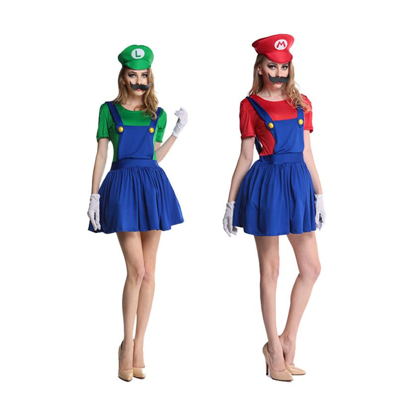 halloween cosplay super mario luigi bros costume for kids and adults funny party wear cute plumber mario set children clothing kids costume discount