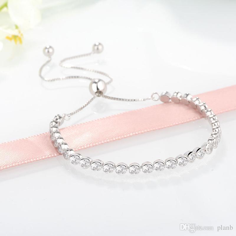 Kadınlar Gümüş Bilezikler Temizle CZ Elmas Ayarlanabilir Boyutu Shining Kristal Bilezik Fit Pandora Takı Bayan Sevgililer Günü Hediyesi