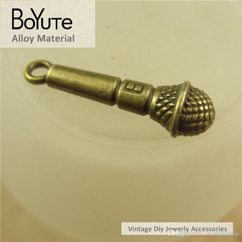 BoYuTe  25*7MM Antique Bronze Silver Plated Microphone Charms Pendants for Diy Necklace Jewelry Making Accessories Findings