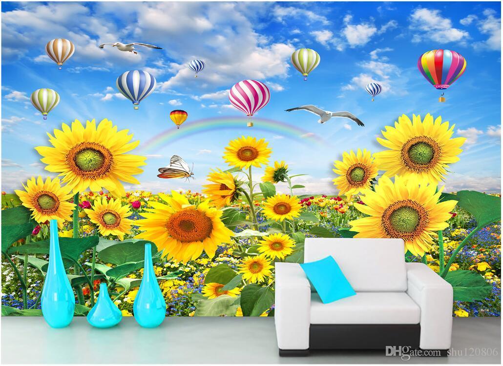 3d Wallpaper Custom Photo Sunflower Smile Beautiful Flower Sea
